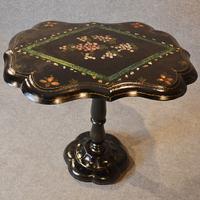 Antique Ebonised Papier Mache Mother of Pearl Side Lamp / Wine / Tilt Table c.1870 (5 of 9)