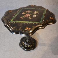 Antique Ebonised Papier Mache Mother of Pearl Side Lamp / Wine / Tilt Table c.1870 (4 of 9)