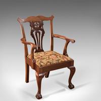 Antique Victorian Chippendale Revival Armchair c.1880