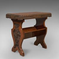 Antique Book Trough Side Table, Oriental Walnut c.1910