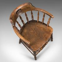 Victorian Antique Bow-Back Chair, English Elm Windsor c.1870 (5 of 8)