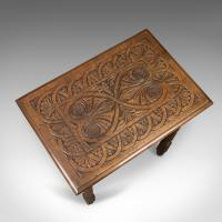 Antique Side Table with Carved Decoration, English Oak c.1908 (7 of 9)