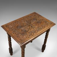 Antique Side Table with Carved Decoration, English Oak c.1908 (6 of 9)