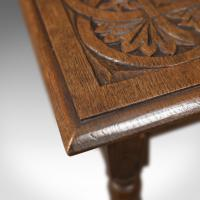 Antique Side Table with Carved Decoration, English Oak c.1908 (2 of 9)