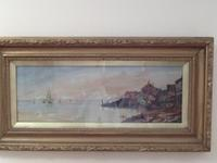 Watercolour Depicting a Coastal Town Scene in Spain C.1902