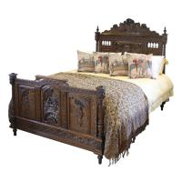 Breton Oak Antique Bed c.1890
