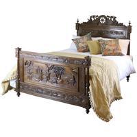 Oak Breton Bedstead with Carved Panels