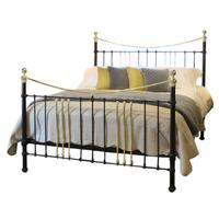 Wide Cast Iron & Brass Bed in Black c.1895