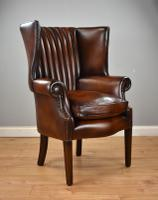 Antique Hand Dyed Leather Barrel Back Wing Chair