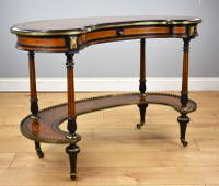 Victorian Burr Walnut Kidney Shaped Writing Table by Gillow
