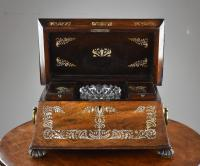 Regency Rosewood & Mother of Pearl Inlaid Tea Caddy (2 of 8)