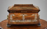 Regency Rosewood & Mother of Pearl Inlaid Tea Caddy