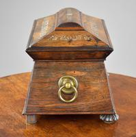 Regency Rosewood & Mother of Pearl Inlaid Tea Caddy (3 of 8)
