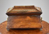 Regency Rosewood & Mother of Pearl Inlaid Tea Caddy (4 of 8)