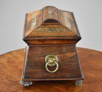 Regency Rosewood & Mother of Pearl Inlaid Tea Caddy (5 of 8)