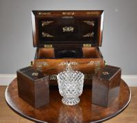 Regency Rosewood & Mother of Pearl Inlaid Tea Caddy (8 of 8)