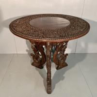 Large Burmese Solid Teak Centre Table with Pedestal Base