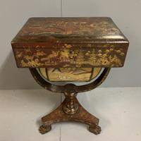 Regency Chinoiserie Sewing Table with Original Silk Sewing Bag