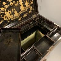 Regency Chinoiserie Sewing Table with Original Silk Sewing Bag (8 of 10)