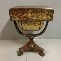 Regency Chinoiserie Sewing Table with Original Silk Sewing Bag (9 of 10)