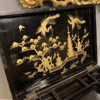 Regency Chinoiserie Sewing Table with Original Silk Sewing Bag (10 of 10)