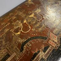 Regency Chinoiserie Sewing Table with Original Silk Sewing Bag (6 of 10)