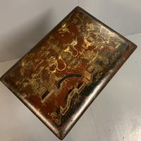 Regency Chinoiserie Sewing Table with Original Silk Sewing Bag (5 of 10)