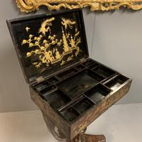 Regency Chinoiserie Sewing Table with Original Silk Sewing Bag (4 of 10)