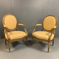 Pair of French 19th Century Carved Gilt Armchairs