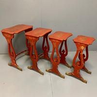 Chinese Red Lacquered Nest of Tables