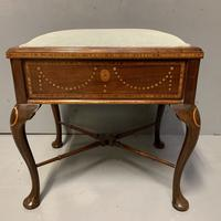 Edwardian Marquetry Piano Stool (4 of 7)