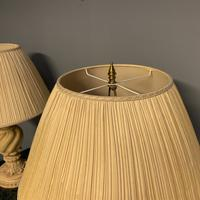 Pair of Vintage Plaster Lamps & Shades (6 of 7)
