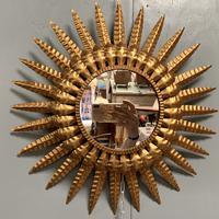Spanish Sunburst Mirror in Gilt Toleware (3 of 6)