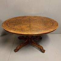 Exceptional Burr Walnut & Marquetry Oval Centre Table (7 of 11)