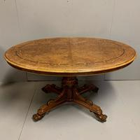 Exceptional Burr Walnut & Marquetry Oval Centre Table (11 of 11)