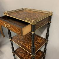 French Geometric Inlaid Amboyna Etagere Side Table (6 of 10)