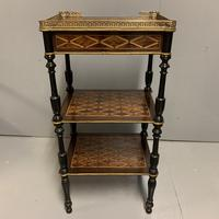 French Geometric Inlaid Amboyna Etagere Side Table (4 of 10)