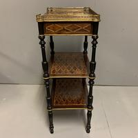 French Geometric Inlaid Amboyna Etagere Side Table (3 of 10)