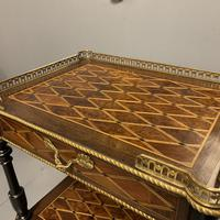 French Geometric Inlaid Amboyna Etagere Side Table (8 of 10)