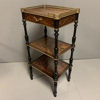 French Geometric Inlaid Amboyna Etagere Side Table (2 of 10)