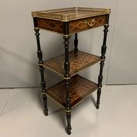 French Geometric Inlaid Amboyna Etagere Side Table (5 of 10)