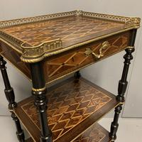French Geometric Inlaid Amboyna Etagere Side Table (10 of 10)