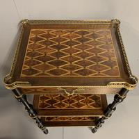 French Geometric Inlaid Amboyna Etagere Side Table (9 of 10)