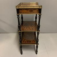 French Geometric Inlaid Amboyna Etagere Side Table (7 of 10)