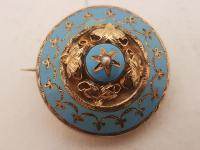 Beautiful Antique Victorian Gold & Blue Enamel Brooch