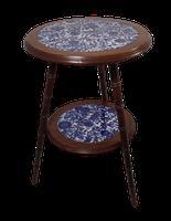 Walnut & Ceramic Side Tables (2 of 4)