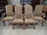 Set of 8 Arthur Brett Queen Anne Style Walnut Dining Chairs
