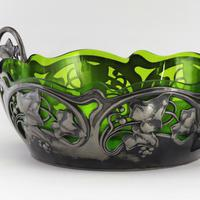 Wmf Art Nouveau Twin Handled Centrepiece with Glass Liner C.1890