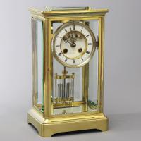 French Four Glass Brass Mantle Clock Signed Hry Marc Paris C.1875