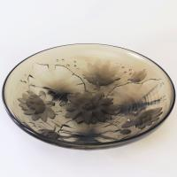 Large Art Deco Water Lilies Glass Charger Verlys France C.1935